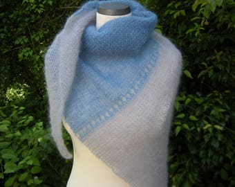 Triangle Shawl, triangle scarf, stole, scarf, blue-grey, kid with silk, knitted