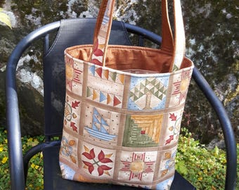 Tote with quilt block fabric