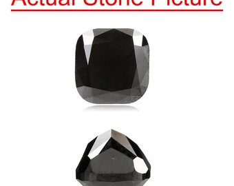 2.15 Cts of 6.70x6.61x5.27 mm GIA Certified AAA Cushion Modified Brilliant ( 1 pc ) Loose Un-Treated Fancy Black Diamond