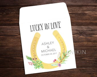Lucky In Love, Lucky Horseshoe, Lottery Ticket Holder, Bridal Shower Favor, Wedding Favor Thank You, Personalized Lucky In Love  x 25