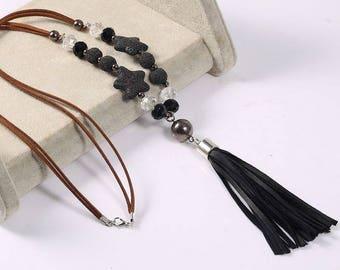 Black and Pink color Lava Rock necklace leather tassel