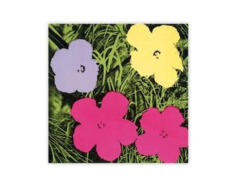 Andy Warhol Flowers, c.1964 (1 purple, 1 yellow, 2 pink)