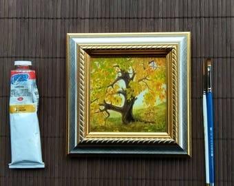"Oil painting miniature. Original Oil Painting, Miniature Painting, 4"" x 4"", framed Landscape Painting. ""Tree"""