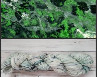 Hand Dyed Yarn, Merino, Nylon, Fingering Weight Speckled Sock Yarn Perfect for Socks, Shawls,  Lightweight Accessories - Speckled Kosmochlor