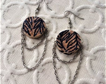 Fern chandelier earring - silver chain