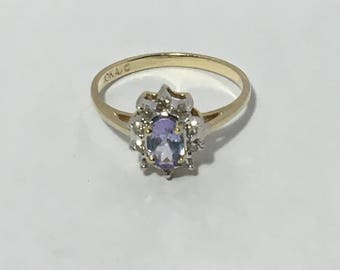 tanzanite gold ring with CZ diamonds
