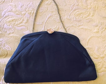 1950s Black Evening Bag with Gold Chain and Rose Clasp
