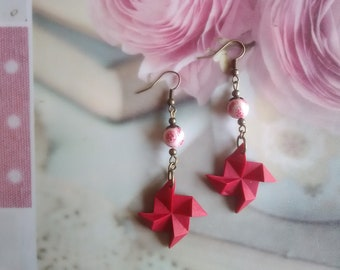 Origami red polymer clay earrings