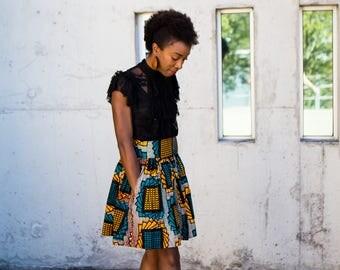 Short African Print Mini Skirts / Wax Print / Ankara Print (Nakimera)