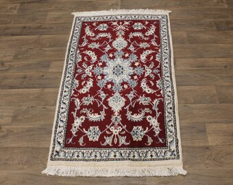 Fine Floral Foyer Size Handmade Nain Kashmar Persia Area Rug Oriental Carpet 3X5