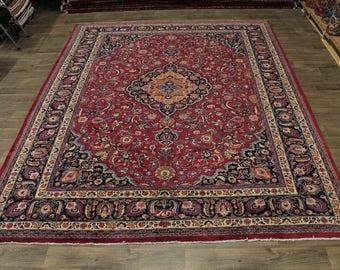 Stunning Handmade Plush Signed Mashad Persian Rug Oriental Area Carpet 10X13
