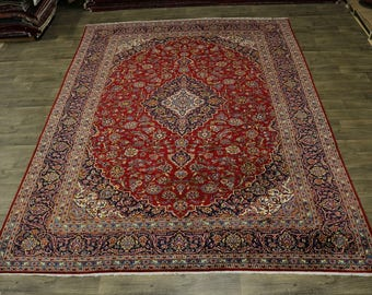 Love S Antique Handmade Red Kashan Persian Wool Rug Oriental Area Carpet 10X13