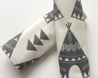 Pram Strap Covers, Car Seat Strap Covers, Black Cream, Teepee Triangle, Reversible Padded, Universal Cover, Seat Belt Cover