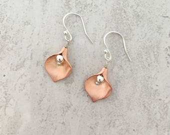 Rose Gold Calla Lily Earrings