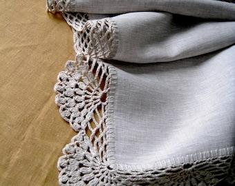 Linen table runner Crochet tablecloth Lace table runner Rustic home decor Christmas runner Grey table runner Wedding gift Long linen runner