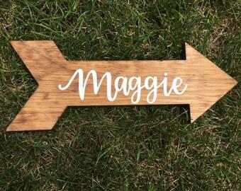 Custom Wood Sign | Wood Arrow | Arrow Sign | Name Sign | Personalized Name Sign | Nursery Sign | Nursery Decor