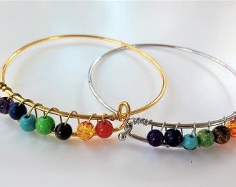 Metal Seven chakras bracelet- Boho jewelry-Protection bracelet-Pulsera 7 Crakras- Stone beads bracelet -Meditation jewelry- Yoga-Wellness