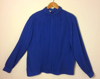 Royal blue silk blouse and skirt set