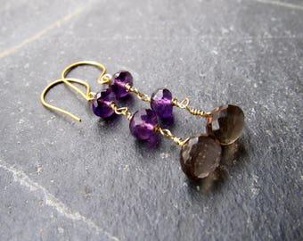 Smoky Quartz Amethyst Earrings Amethyst earrings Crystal Earrings Rough stone Feburary Birthstone gift women gift for her gift for mom