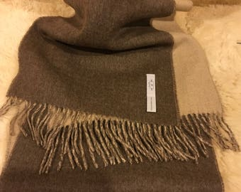 100% soft Baby Alpaca scarf.  2 sided/colors/beige and soft brown