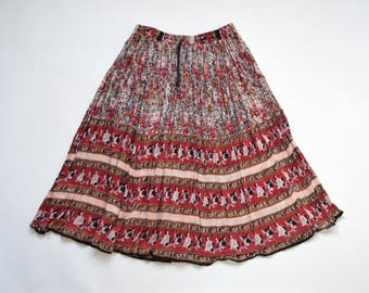 1970s Indian block print gauze skirt / size medium / red floral indian print