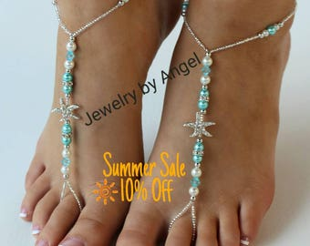 Beach wedding barefoot sandals-Bridal foot jewelry Rhinestone starfish barefoot sandals Barefoot Sandals Bridal shoes Footless sandals Blue