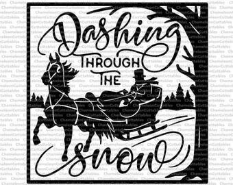 Dashing through the snow for glass block, SVG, eps, png, jpeg, dxf, vector, cut file, digital download
