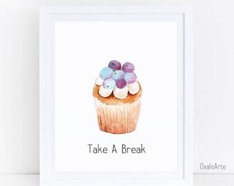 dessert Art, Watercolor Printable Art, Watercolor Wall Art, cupcakes art, cupcake,kitchen art
