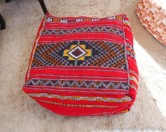"""Berber Floor Pouf Handcrafted from Vintage Moroccan Kilim Rug, 24""""x24""""x10"""" - Unfilled"""