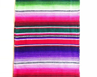 Pink serape table runner, mexican table runner, fiesta decorations, mexican party decorations, southwestern decor, fiesta party decorations