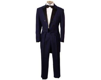 Vintage 1950s Blue Tuxedo Tails Suit - Size 36 - S