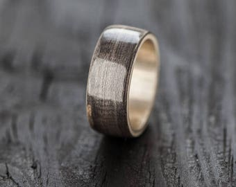 Recycled silver Bentwood, Ring Wooden Ring, Wedding ring Waterproof
