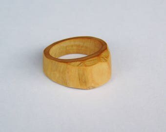 faceted olive wood ring