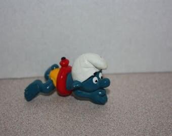 Vintage Smurfs Swimmer Red Tube Smurf Figure 1977 PVC Toy Figure Peyo Schleich