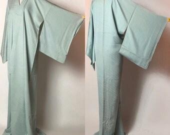 """Japanese K031502 Bautiful Bright Blue """"Iro-muji"""" Kimono Vintage"""