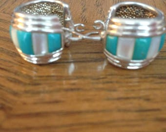Sterling Silver Turquoise and Mother of Pearl Loop Earrings