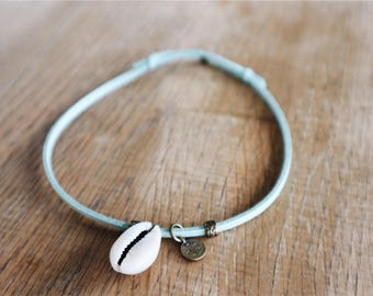 Anklet with blue shell