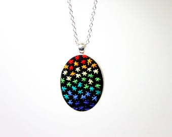 Rainbow stars embroidered necklace, rainbow pendant, embroidered jewelry, stars necklace, gift for women, ooak jewelry