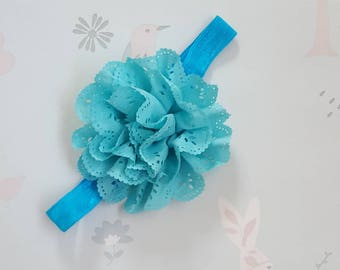Turquoise blue patterned cotton flower appliqué elastic baby toddler headband hairband.