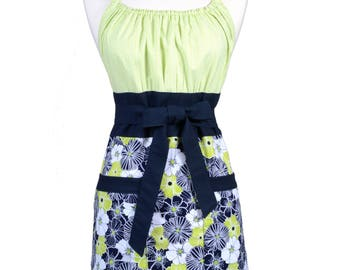 Womens Retro Kitchen Apron in Lime Green and Navy Spring Vintage Style with Lined Pocket and Fitted Bodice Top