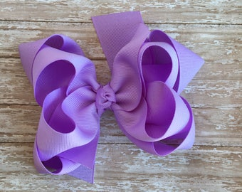 Double stacked hair bows, double layer hair bows, lilac double stacked hair bows, girls hair bows, 5 inch hair bows,lavender hair bows