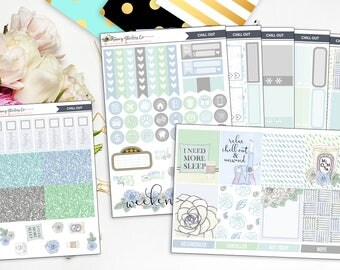 Chill Out Full Weekly Planner Sticker Kit | for use with Erin Condren Lifeplanner™, Filofax, Personal, A5, Happy Planner