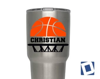 Custom Basketball Decal | Custom YETI Basketball Decal | Custom Basketball Name  Decal | Basketball Car Decal | Basketball Decal for YETI |