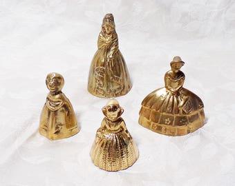 Set of Four Vintage Brass Lady Bells