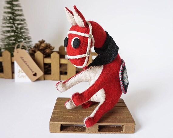 Donkey red - Donkey Gift - Donkey Figurine - Donkey Sculpture - Donkey Felt - Donkey Toy