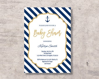 Nautical Baby Shower Invitation Printable, gold and navy anchor baby shower invite, editable pdf instant download, marine baby shower boy
