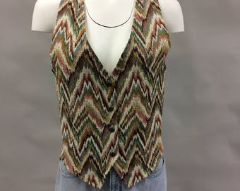 1980s 1990's Tapestry Multi-Color Vest with Silver Southwestern Buttons | Size Medium | C.H.Sport | The Heat is On! | Made in the USA