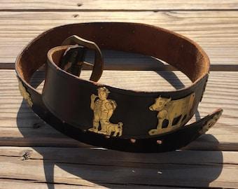 "1970's 1980's Vintage Appenzeller Grutel Swiss Leather and Metal Belt 28"" Waist | Cow | Sunshine | Folk Festival Small Medium"