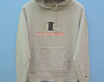 Vintage Champion Big Spell Out Logo Hoodies Sweatshirt Sports Hip Hop Sweater
