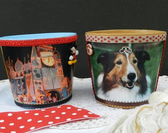 Set/2 - Clay - Pot - Blue - Disney - Mickey - Brown - Dog - Sheltie - Princess - Hand - Painted - Containers - Home - Decor - Jar - Gift